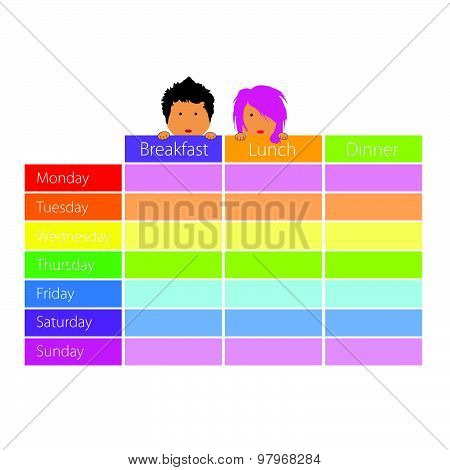 Timetable With Happy Kids Color Vector