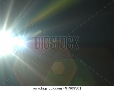 Design Template - Two White Star, Sun With Lens Flare. Rays Background.
