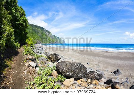 View of a tropical beach in Hawaii with a trail leading into the mountainside foliage