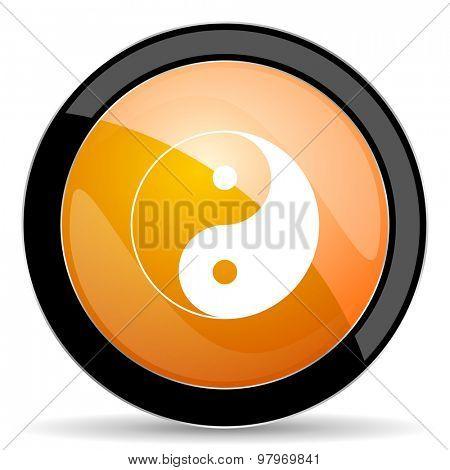 ying yang orange icon