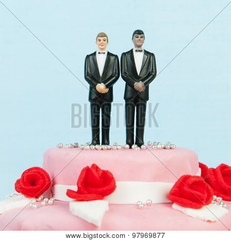 Pink wedding cake with red roses and gay couple on top