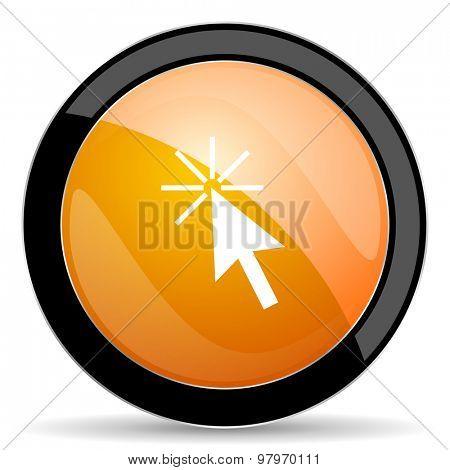 click here orange icon