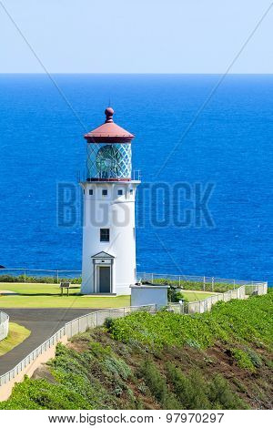 A beautiful view of the Daniel Inouye Kilauea Point lighthouse on the Hawaiian island of Kauai