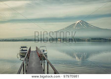 Mt.fuji And Jetty In Kawaguchiko, Japan
