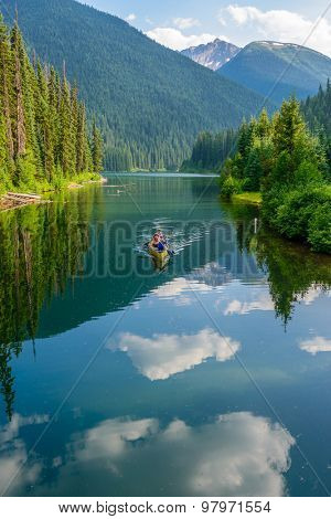 Majestic mountain lake in Canada. Lightning Lake in Manning Park in British Columbia. Lake Trail View.