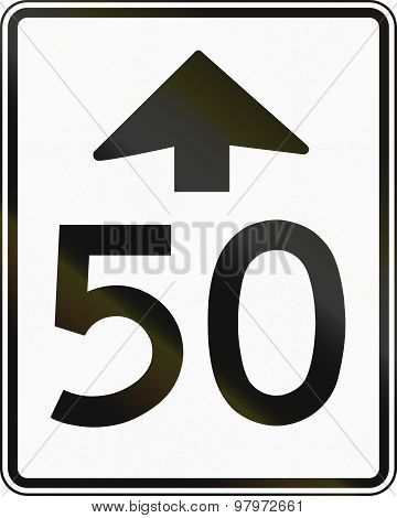 Speed Limit Ahead Sign In Canada