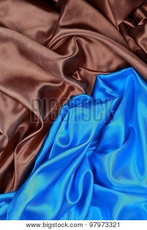 Blue And Brown Silk Cloth Of Wavy Abstract Backgrounds