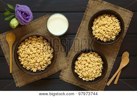 Honey Flavored Breakfast Cereal with Milk