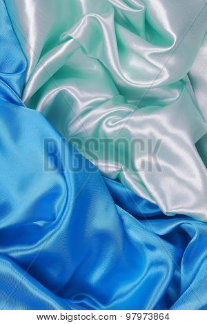 Blue And Light Green Silk Cloth Of Wavy Abstract Backgrounds