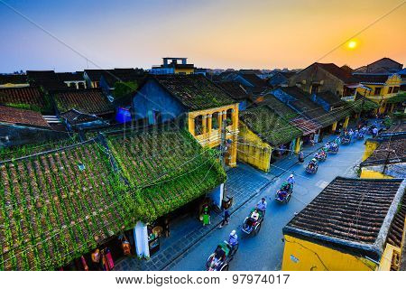 Hoi An ancient town from high view in sunset