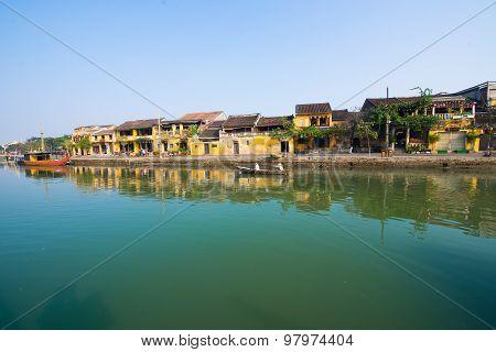 Hoai river in ancient Hoian town in Hoian, Vietnam