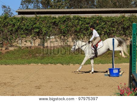 Young girl in horse jumping demonstration