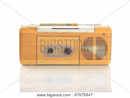 Music Radio Cassette On White Background