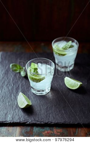 Gin Tonic with lime, mint and ice cubes