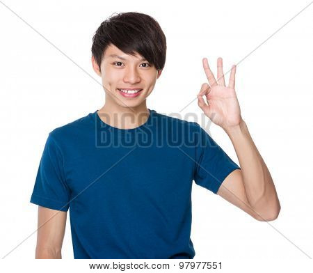 Asian man with ok sign gesture