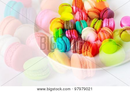 Macaroons On A White Plate On White Background.abstract