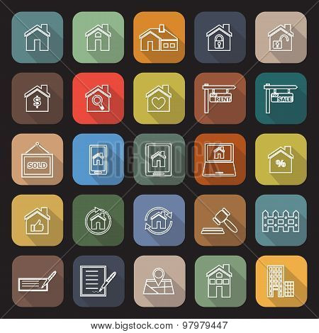 Real Estate Line Flat Icons With Long Shadow