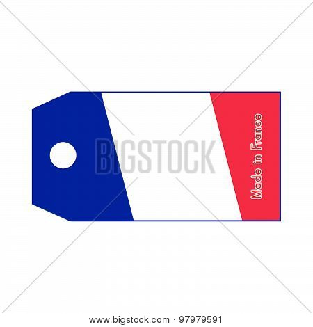 France Flag On Price Tag With Word Made In France Isolated On White Background