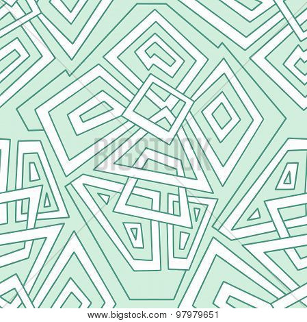 Detailed seamless geometric pattern in pale green tones. Seamless pattern, background