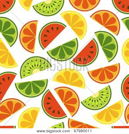 Vector sliced fruits seamless pattern.