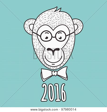 Vector Hand Drawn Portrait Of Geek Monkey. 2016 Happy New Year Greeting Card.