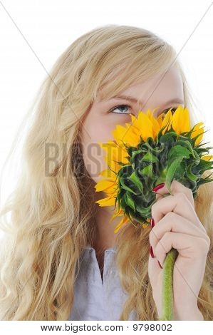Blonde With A Sunflower
