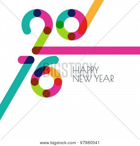 New Year 2016 Creative Greeting Card. Abstract Colorful Holiday White Background With Place For Text
