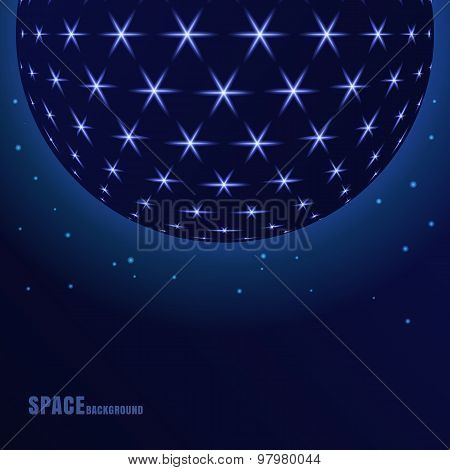 Vector Abstract Sphere With Shining Stars, Futuristic Background.