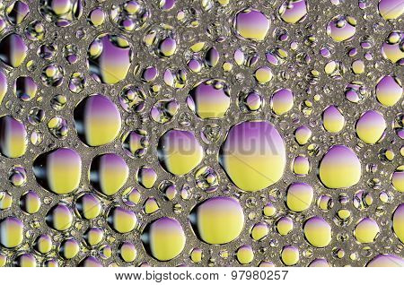 Artistic Colorful Oil And Soap Bubbles In Water