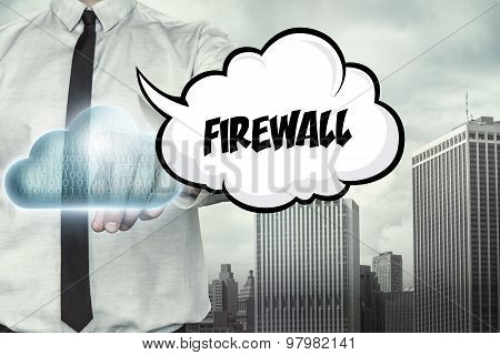 Firewall text on cloud computing theme with businessman