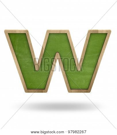 Green blank letter w shape blackboard