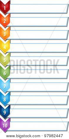 blank business strategy concept infographic chevron list diagram illustration ten 10 steps