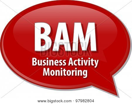 Speech bubble illustration of information technology acronym abbreviation term definition BAM Business Activity Monitoring