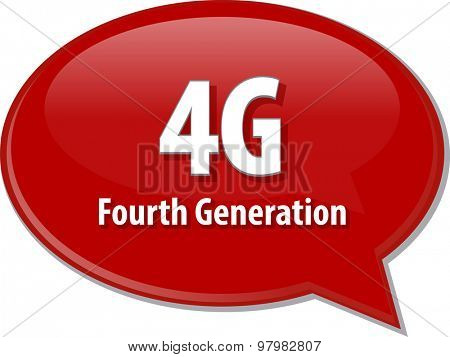 Speech bubble illustration of information technology acronym abbreviation term definition 4G fourth generation cellular data