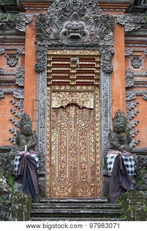 Gate Of Temple With Ornaments. Indonesia, Bali, Ubud
