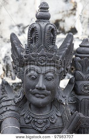 Traditional Stone Sculpture In The Temple In Ubud, Bali, Indonesia