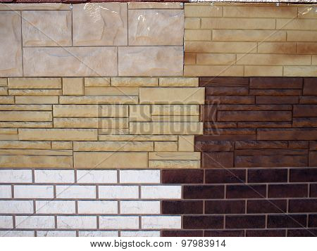 Fragment Wall With Different Types Of Decorative Coating
