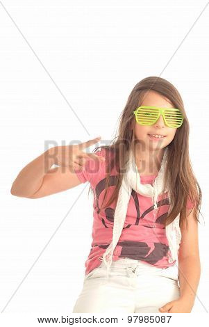 Happy teenager girl showing peace sign on white background