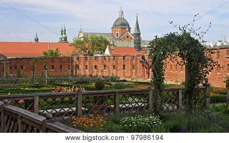 Renaissance Garden At The Wawel Castle In Krakow