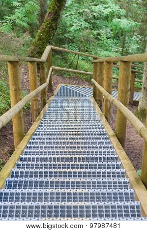 Turning Stairway In Summer Forest, Part Of Hiking Trail