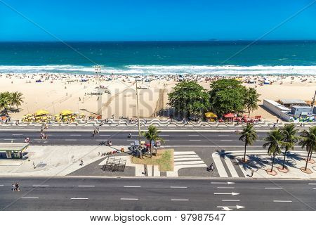 RIO DE JANEIRO - CIRCA JAN 2014: Aerial view of Copacabana beach in Rio de Janeiro, Brazil.