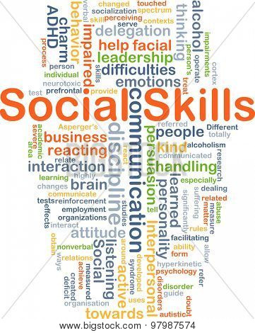 Background concept wordcloud illustration of social skills