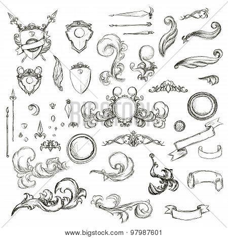 Vintage Set Decor Elements For Menu. Elegance Old Hand Drawing Set. Sketch Ornate Swirl Leaves, Labe