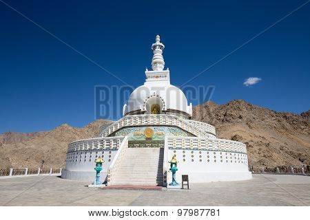 Shanti Stupa Is A Buddhist White Domed Stupa In Leh, India