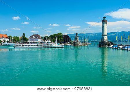 LINDAU, GERMANY - JUNE 11: Lighthouse at port of Lindau harbour, Lake Constance, Bavaria, June 11 2014 in Lindau, Germany