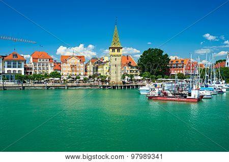 LINDAU, GERMANY - JUNE 11: Boats at port of Lindau harbour, Lake Constance, Bavaria, June 11 2014 in Lindau, Germany