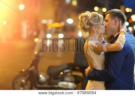 Wedding Couple At Night City Street