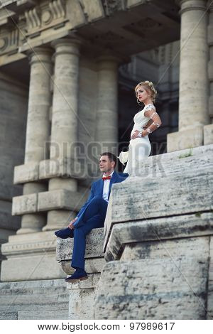 Young Wedding Couple At Corte Di Cassazione Italy Rome