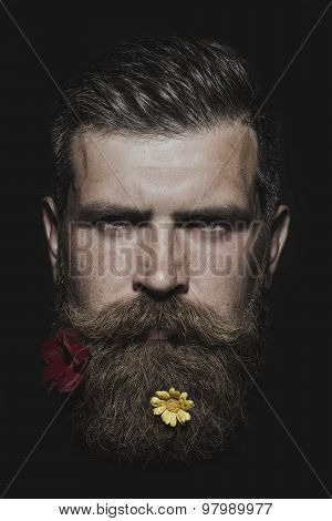Man With Two Flowers On Beard