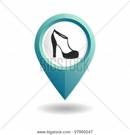 Blue map pointer with women's high-heeled shoes icon.